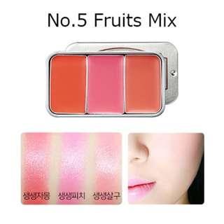 Brand New SKINFOOD Fresh Fruit Lip & Cheek Trio (#5 Fruits Mix)