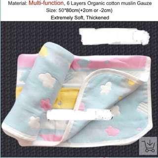 Blue 100% Muslin cotton organic blanket towel bath sleep stroller pram  childcare school (Tag: sale, cheap, discount, fashion, ladies, women, girl, clothes, clothing, baby, newborn, kids, children, toddler, )