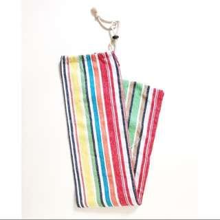 Striped Long Drawstring Pouch