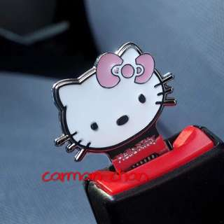 2PCS HELLO KITTY CAR SEAT SAFETY BELT SEATBELT BUCKLE ALARM STOPPER