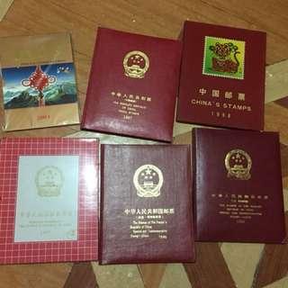 中國郵票年冊-2003,1993,5,7,8 年6本吉冊