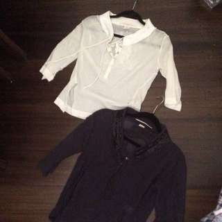 2 designer tops navy and cream