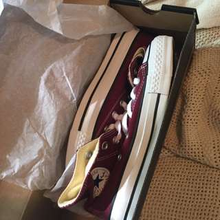 Brand New Maroon High Top Converse, W size 5