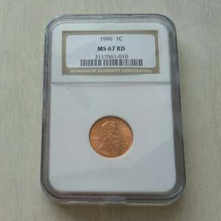 USA 1996 1 Cent NGC 67RD Coin