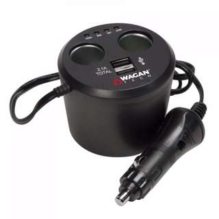 WaganTech 2537-5 Twin USB Sockets Cupholder Adapter
