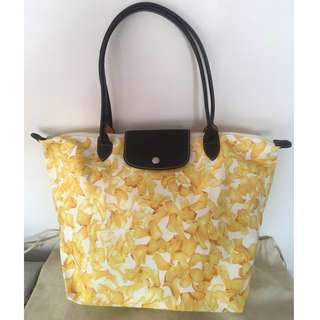 Authentic LONGCHAMP Canvas Tote - Yellow 'Darshan' Flowers