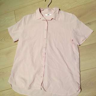 Uniqlo dust pink button up