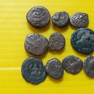 10 COINS LOT - sl01 -  South India Copper Coin - Madurai Tanjore Arcot Vijayanagar Mysore Shivaganga Beautiful vintage Copper Coins Medieval Hindu Kingdom ( 400 - 200 Years old )