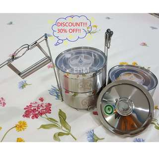 Stainless Steel 3 Tier Anti-Spill Food Container 14CM ( DISCOUNT!!! 30% OFF )