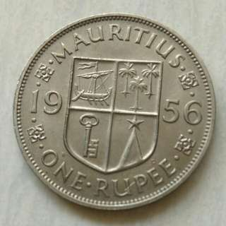 Mauritius 1956 Rupee Unc Coin With Luster