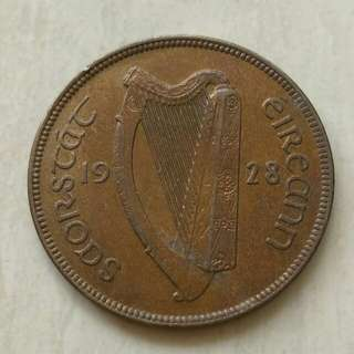 Ireland 1928 Penny Unc Coin.Diameter 30.9mm