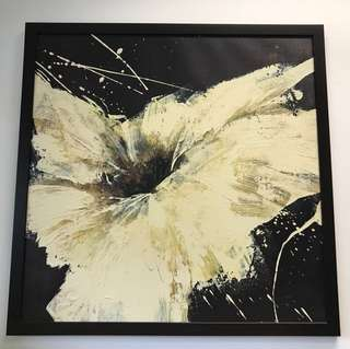 Oil based White water lily painting with frame