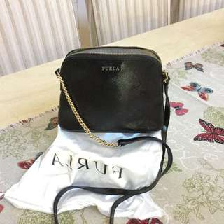 Furla - black leather inside pouch cross body bag