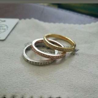 3 tone stackable Authentic Swarovski crystal rings