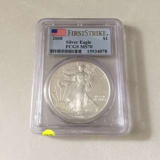USA 2008 silver Eagle $1 First Strike MS70 coin