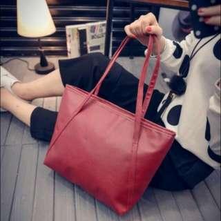 大方包(酒紅色)/托特包/女包/肩背包/手提包/大包包