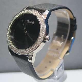 Women's Black Leather Strap Watch