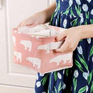 北歐藝文防水帆布提袋化妝品桌面衣櫃收納籃
