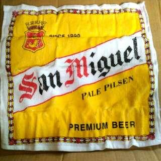 全新 生力啤酒 SAN MIGUEL 12吋 棉質方形毛巾,199x年