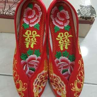 中式喜鞋/紅色婚鞋/繡花鞋 全新 38號