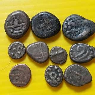 10 COINS LOT - sl02 -  South India Copper Coin - Madurai Tanjore Arcot Vijayanagar Mysore Shivaganga Beautiful vintage Copper Coins Medieval Hindu Kingdom ( 400 - 200 Years old )