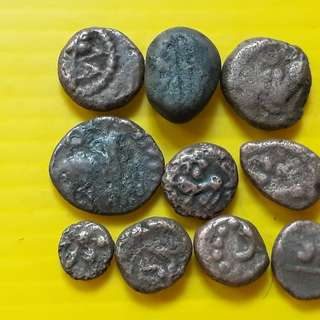 10 COINS LOT - sl03 -  South India Copper Coin - Madurai Tanjore Arcot Vijayanagar Mysore Shivaganga Beautiful vintage Copper Coins Medieval Hindu Kingdom ( 400 - 200 Years old )
