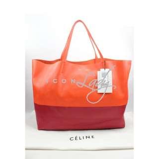 CELINE Horizontal Bi-cabas 橙色/ 紅色 Two-tone 小羊皮 購物袋 肩背袋 手袋