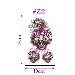 ★Tigers Heads Brown Fake Temporary Body Tattoos Stickers Sellzabo Fierce Animals #Z2