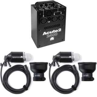 Profoto Acute2 2400w + D4 Heads + RingFlash