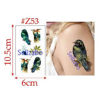 ★Colourful 3D Birds Fake Temporary Body Tattoos Stickers Sellzabo #Z53