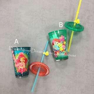 東京迪士尼 小美人魚 小比目魚 海底世界 造型 隨身水杯 水瓶 水壺 附吸管