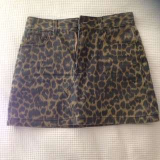 Denim animal print skirt
