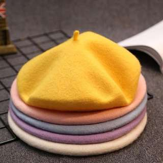 Pure wool beret hat pink
