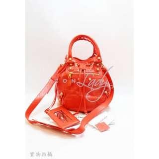BALENCIAGA 285439 Giant 12 Gold Mini Pompon 橙色金扣手提袋 肩背袋 手袋