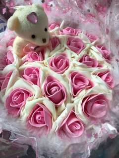 Pink Valentine Day Bouquet Flower with Teddy Bear (Delivery additional cost)