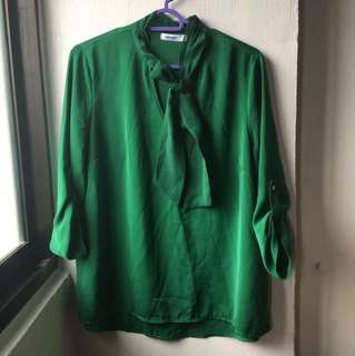 Emerald Green Bow Blouse