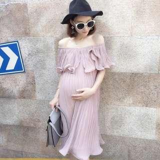 Pink Off Shoulder Maternity Dress