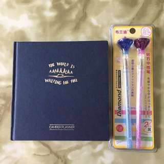 filed Camper Planner with Cute Diamond Pens