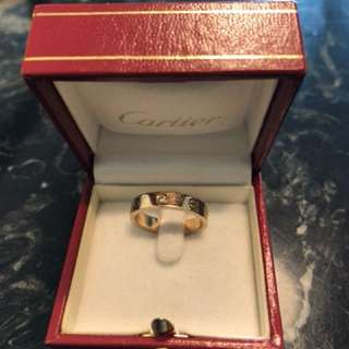 Authentic Cartier pink gold with one diamond  size 54