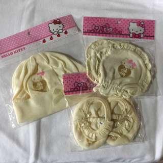 Hello Kitty bonnet, mittens, booties set