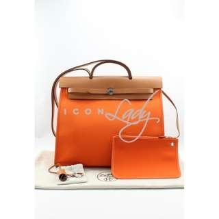HERMES Herbag Zip 39 GM Orange 橙色帆布 肩背袋 手提袋 手袋