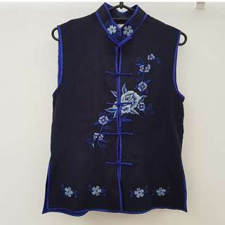 CNY Blouse / Chinese Collar / Mandarin Collar Embroidered Top For Ladies