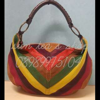 Authentic Fossil multicolor suede leather shoulder bag.