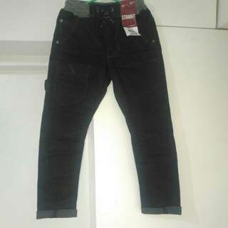 George straight cut black cargo denims
