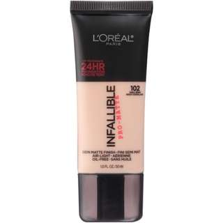 Loreal Infallible Pro-matte Foundation in shade 102