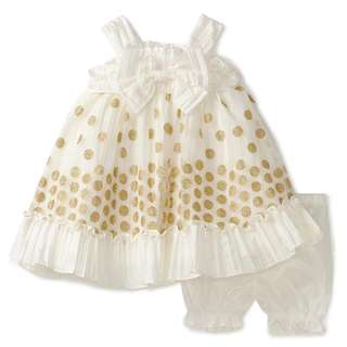 Brand new - Baby Girls' Taffeta Dress with Embroidery Overlay, Cream, 18 Months