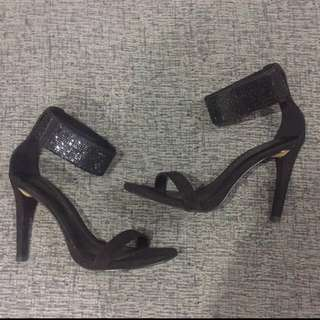 charles and keith sparkle glitter ankle strap embellished heels