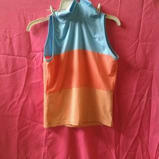 Pink and Blue Sleeveless Turtle Neck Blouse