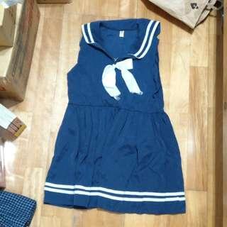 🚚 💎蘿莉 軟妹 日系 深藍色 水手領海軍風無袖連身裙