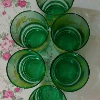 Gelas cantik hijau bening 6 pcs